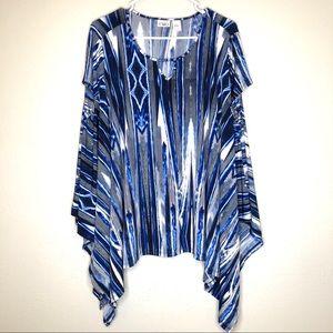 CATO blouse, draped blouse size large, blue/white